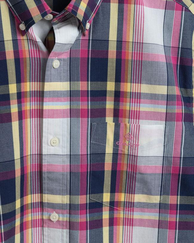 Tech Prep™ Regular Fit Kurzarm Hemd mit Tartan-Muster in Indigoblau
