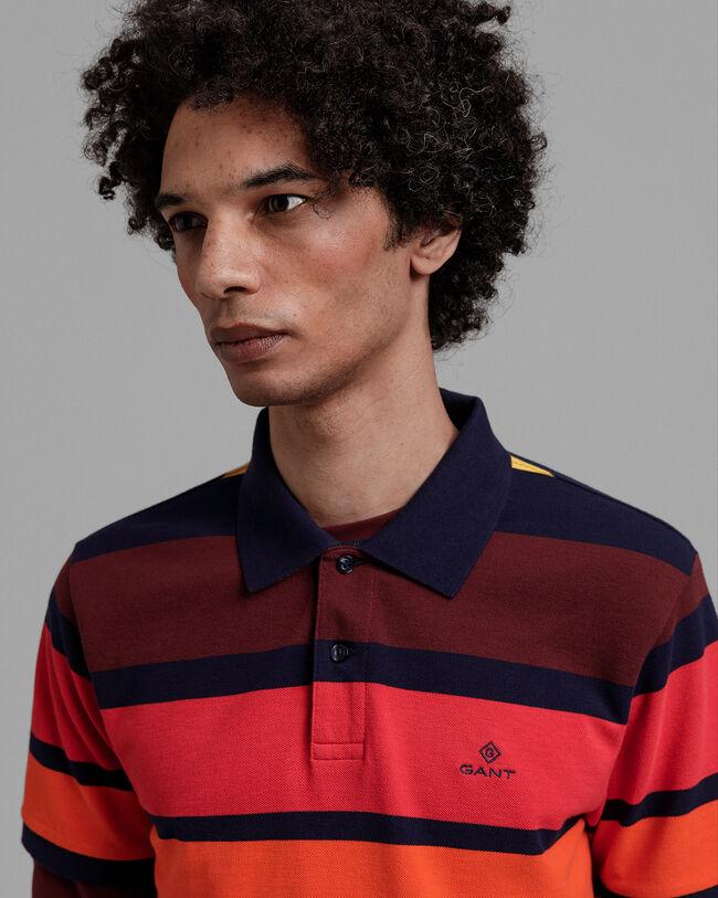 Bunt gestreiftes Piqué Poloshirt