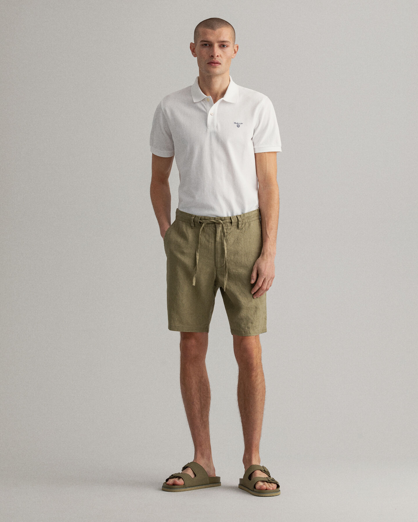 Relaxed Fit Leinen Shorts mit Kordelzug