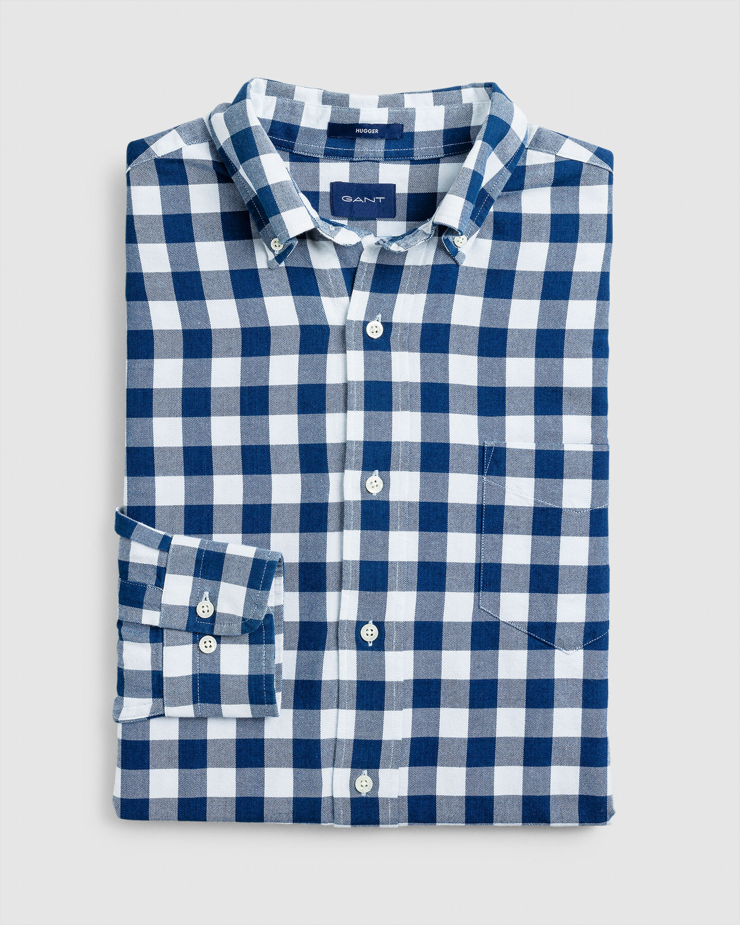 Indigoblaues Hugger-Fit Oxford-Hemd im Vichy-Karo