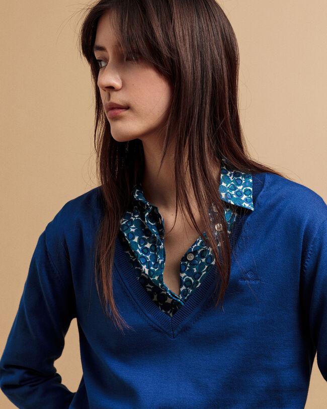 Leichter V-Neck Pullover aus Baumwolle