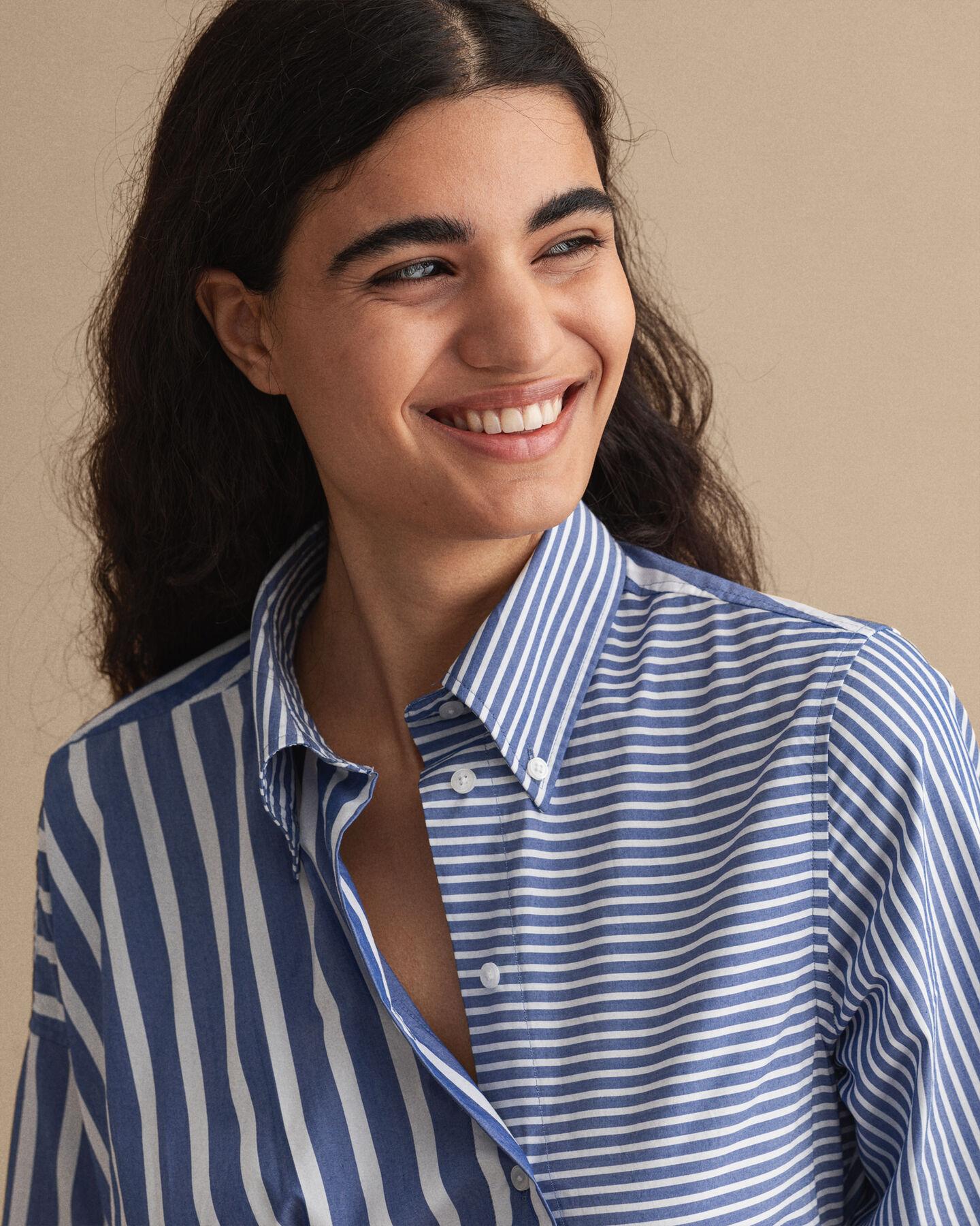 Tech Prep™ Gestreiftes Hemdblusenkleid mit Knoten