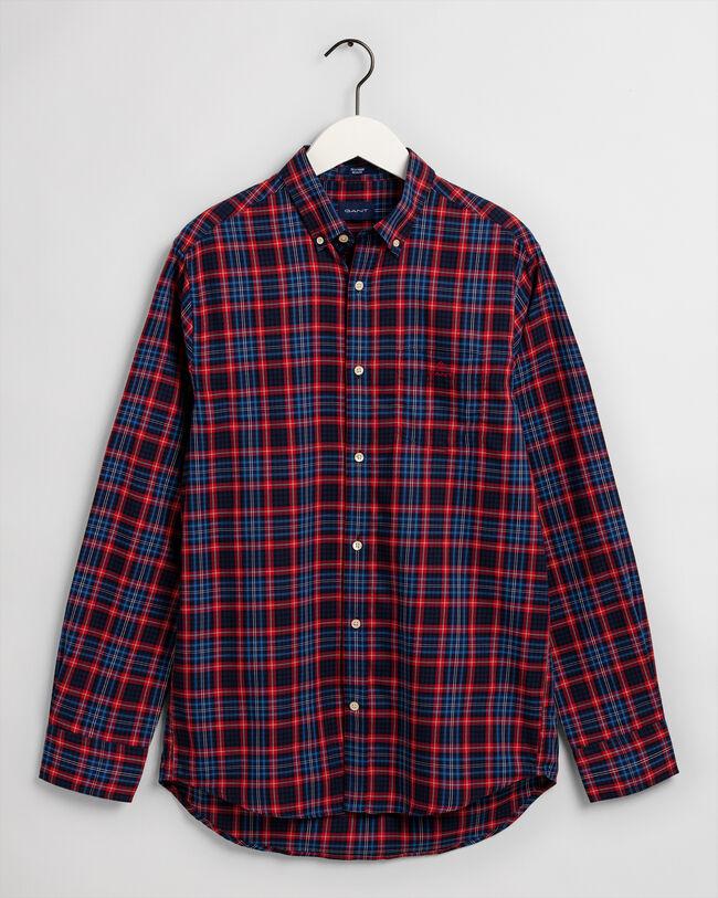 Tech Prep™ Regular Fit Oxford-Hemd mit Mini-Tartan-Muster