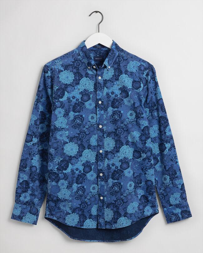 Flower Regular Fit Hemd mit Print in Indigoblau