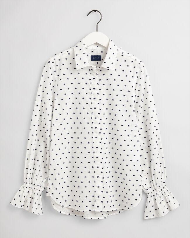 Dobby Smok-Bluse mit Punkten