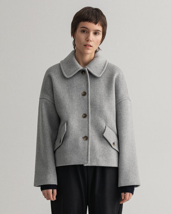 Cropped Jacke aus Wollmischung