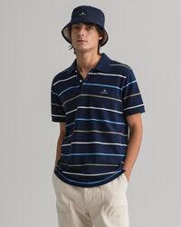 Piqué Rugger Poloshirt mit Marinestreifen