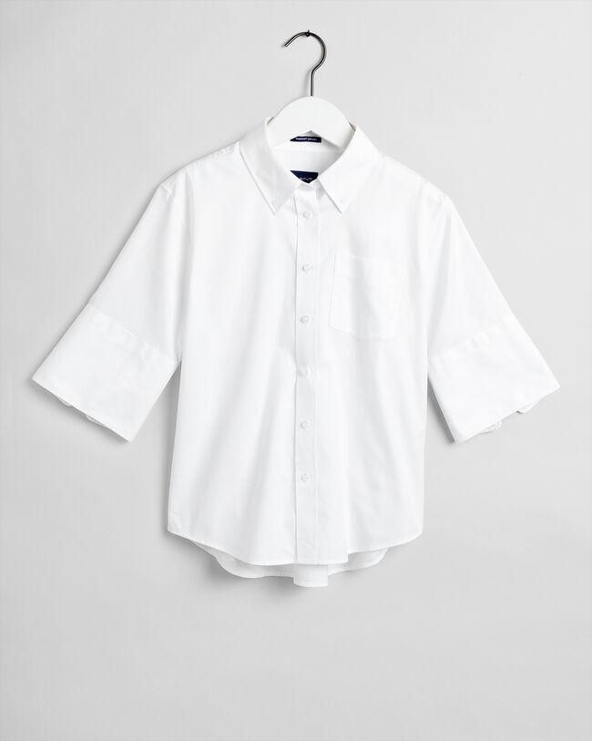 Kurzarm Pinpoint Oxford-Bluse