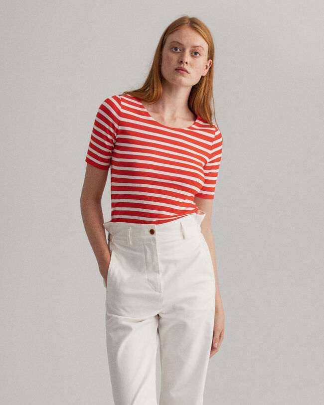 Geripptes T-Shirt halblangem Arm und Streifen