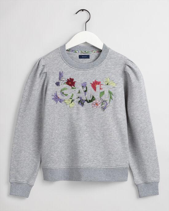 Teen Girls Flower Logo Rundhals-Sweatshirt
