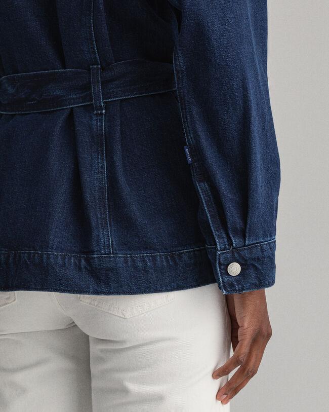 Oversize Jeansjacke mit Gürtel