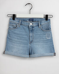 Teen Girls Monogram High Waisted Denim Shorts