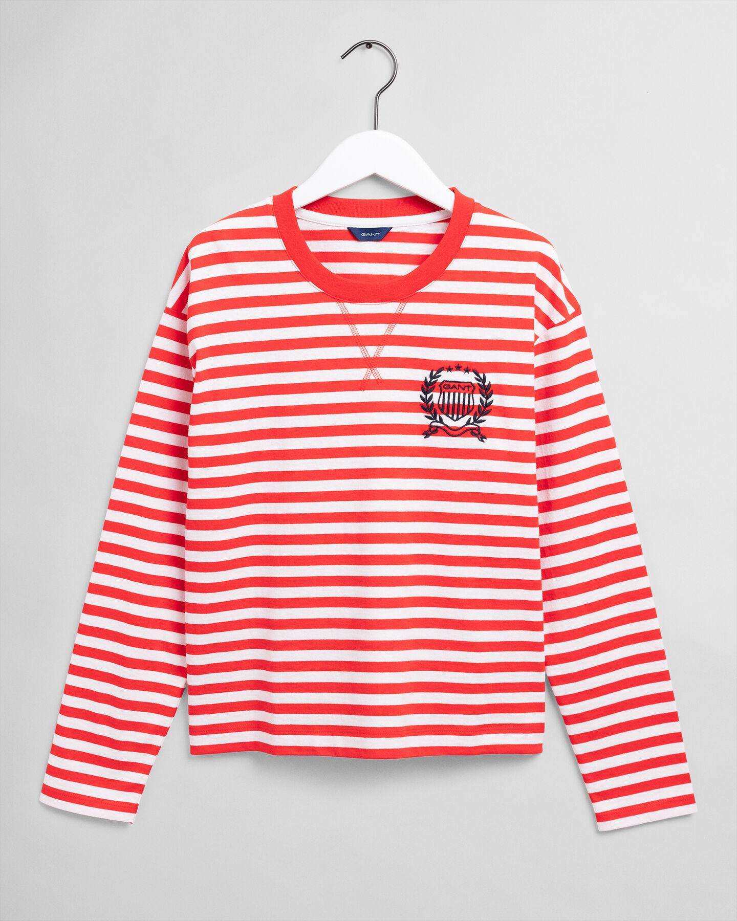 Gestreiftes Langarm-T-Shirt mit Wappen