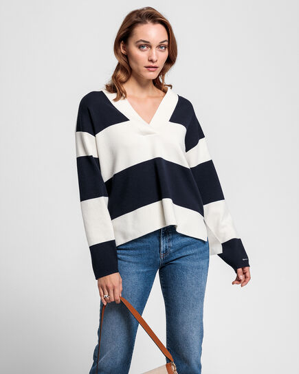 V-Neck Pullover mit Blockstreifen