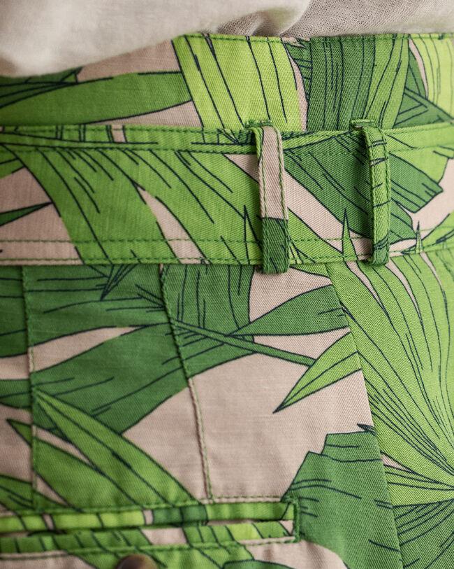 Palm Breeze High Waisted Shorts mit Bundfalten und Print