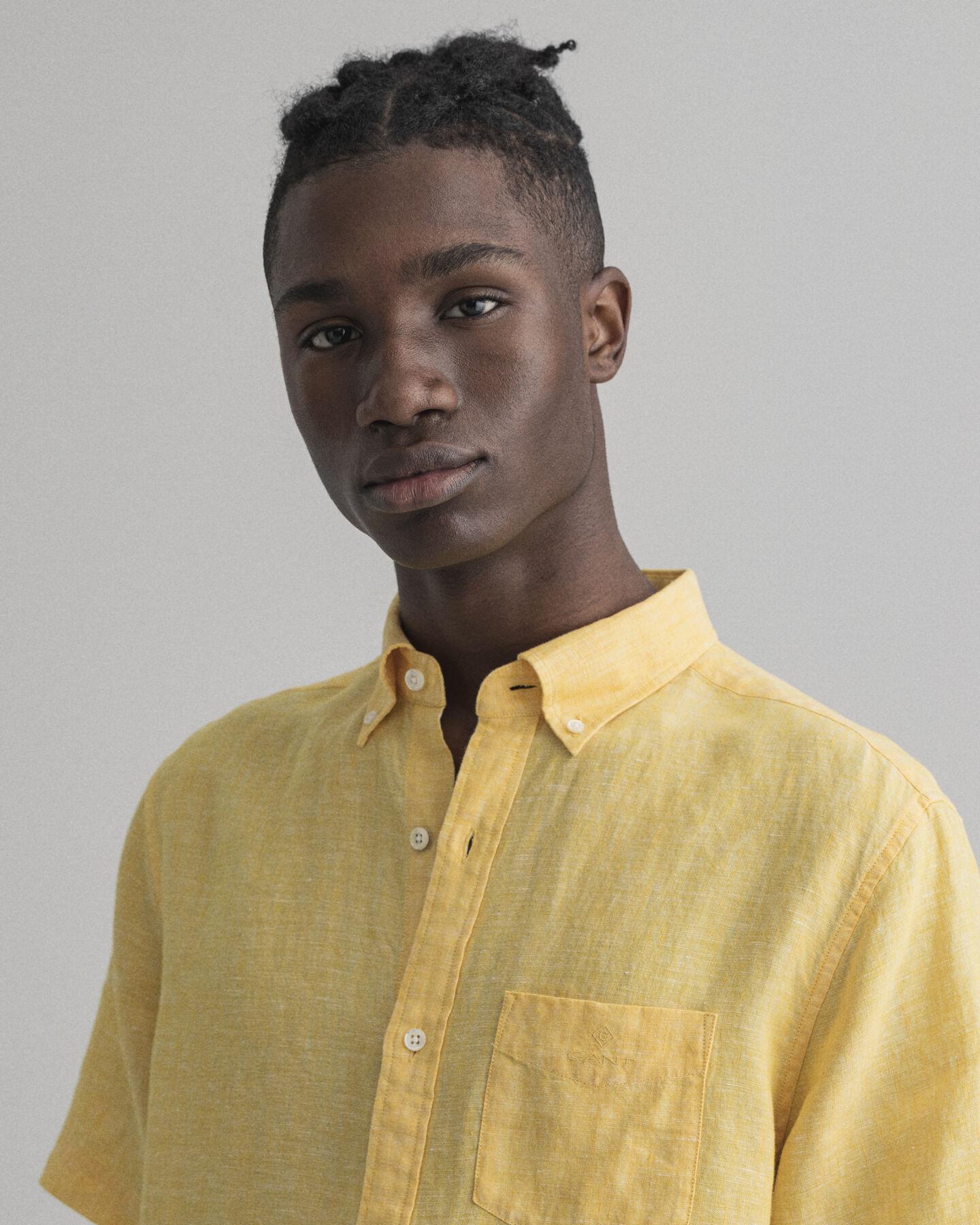 Regular Fit Leinen Kurzarm Hemd