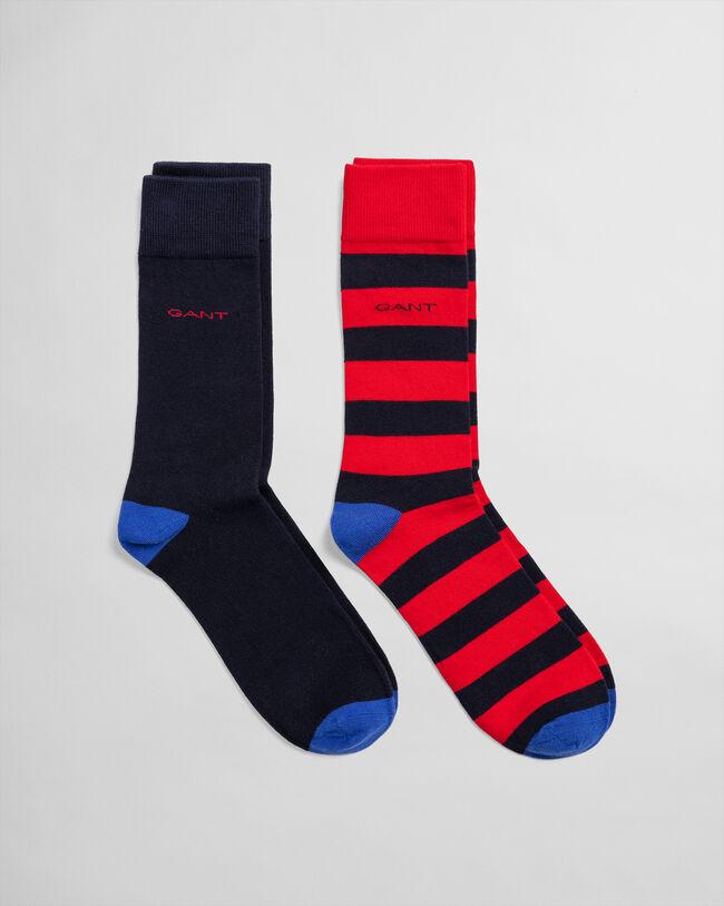 2er-Pack Socken Gestreift & Einfarbig