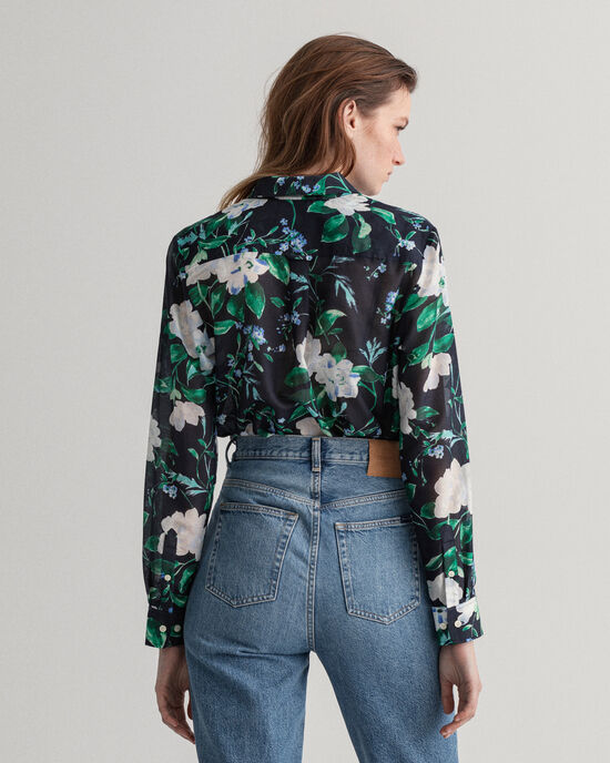 Rose Bluse aus Baumwolle und Seide mit Print