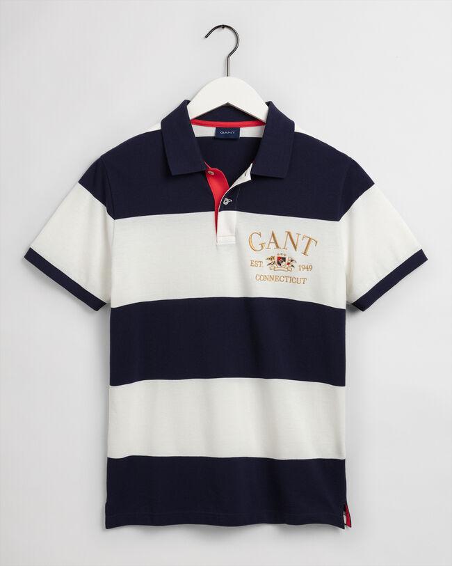 Flag Crest Piqué Poloshirt mit Blockstreifen