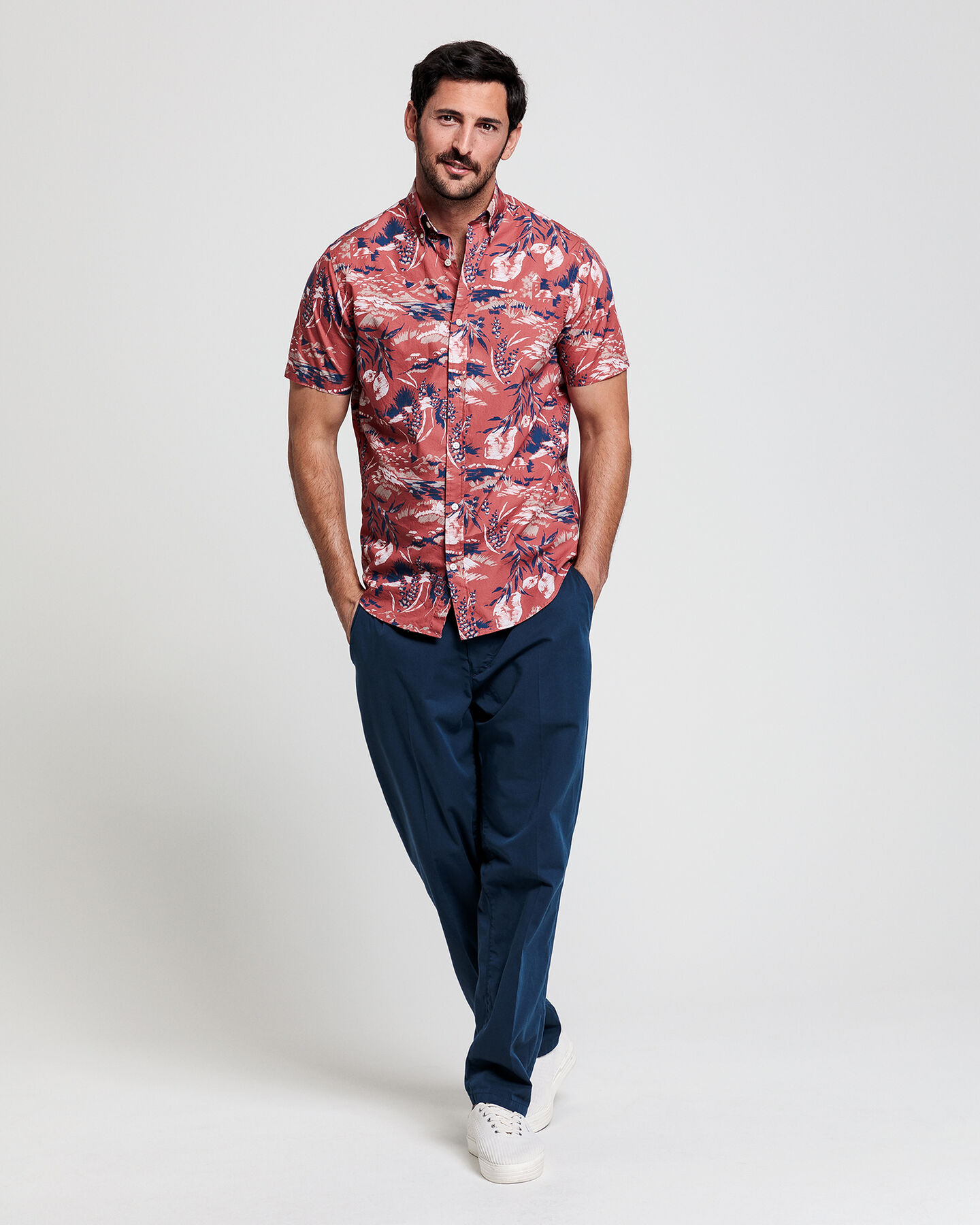 Riviera View Print Regular Fit Kurzarm Hemd