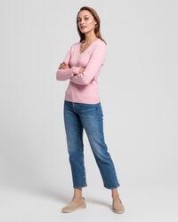 V-Neck Pullover aus Stretch-Baumwolle mit Zopfmuster