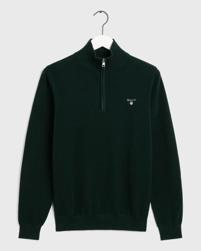 Piqué Half-Zip Sweater