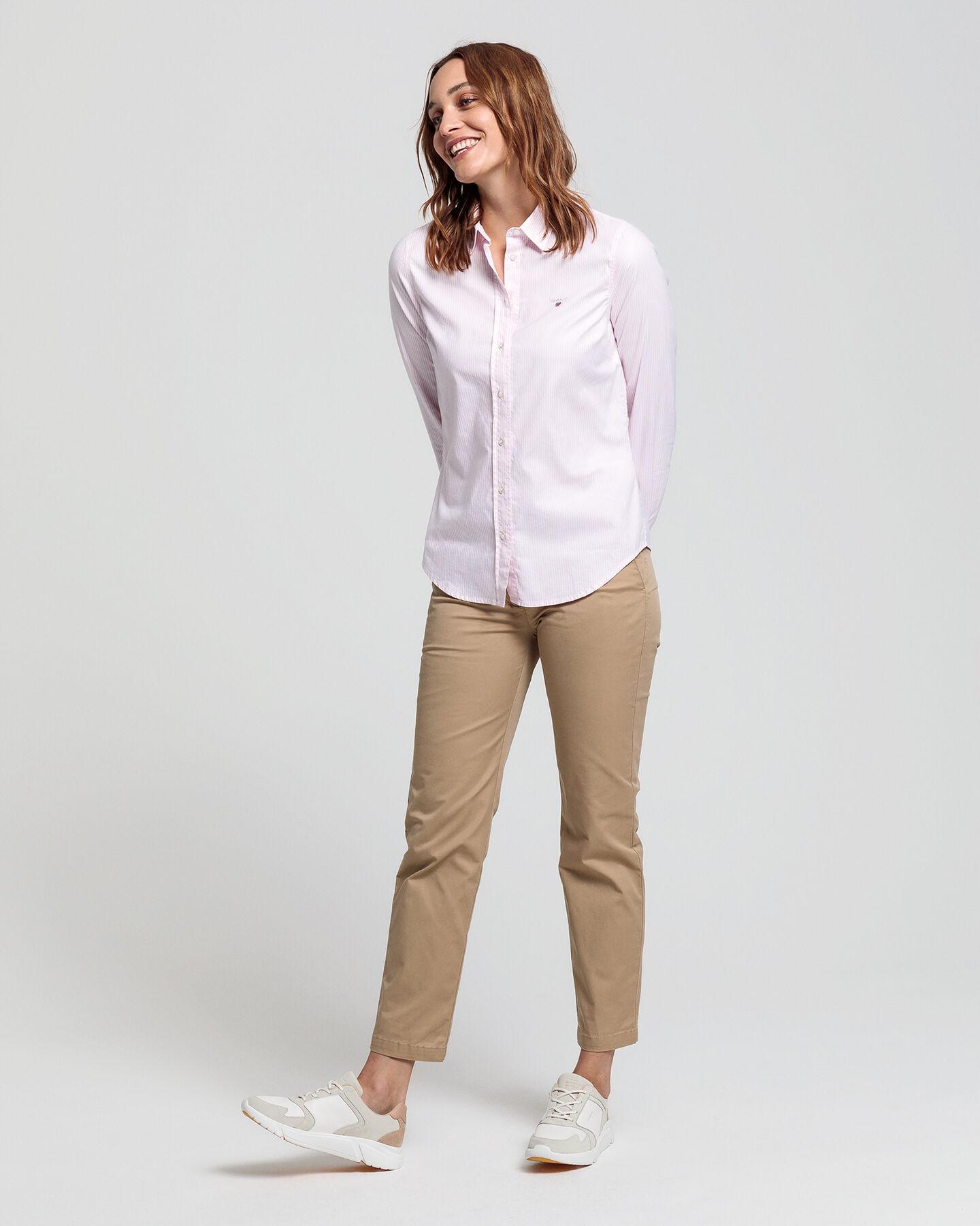 Stretch Banker Oxford-Bluse