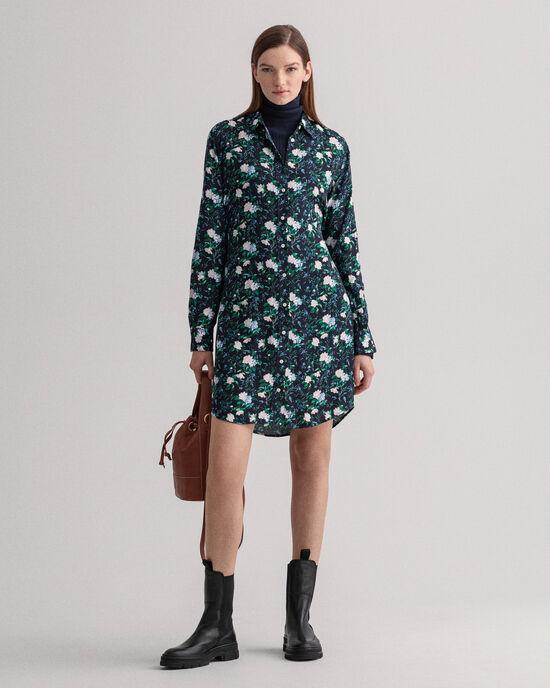 Rose Crêpe Hemdblusenkleid mit Print