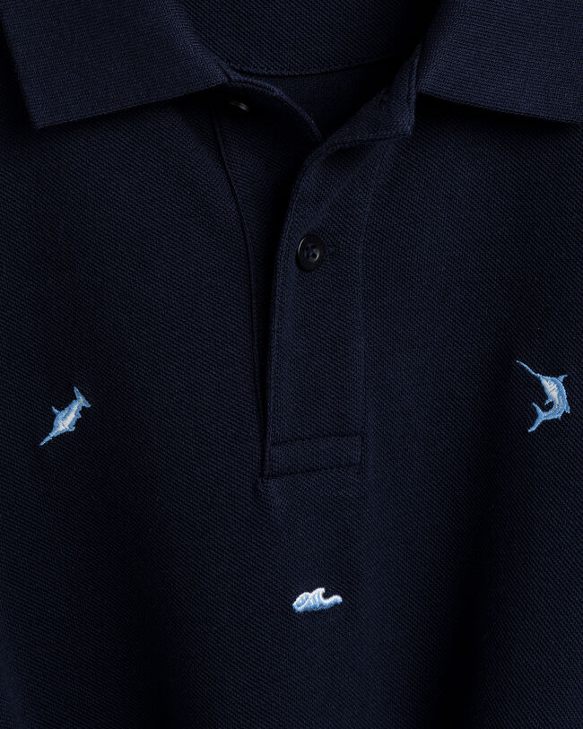 Maritime Piqué Poloshirt mit Stickerei