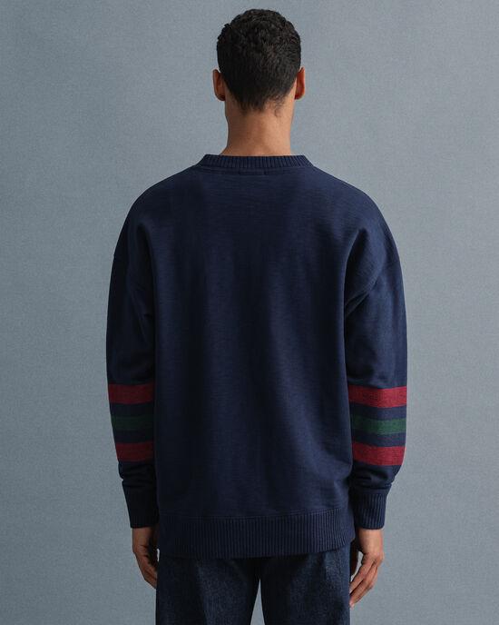 Relaxed Fit Geometric Rundhals-Sweatshirt
