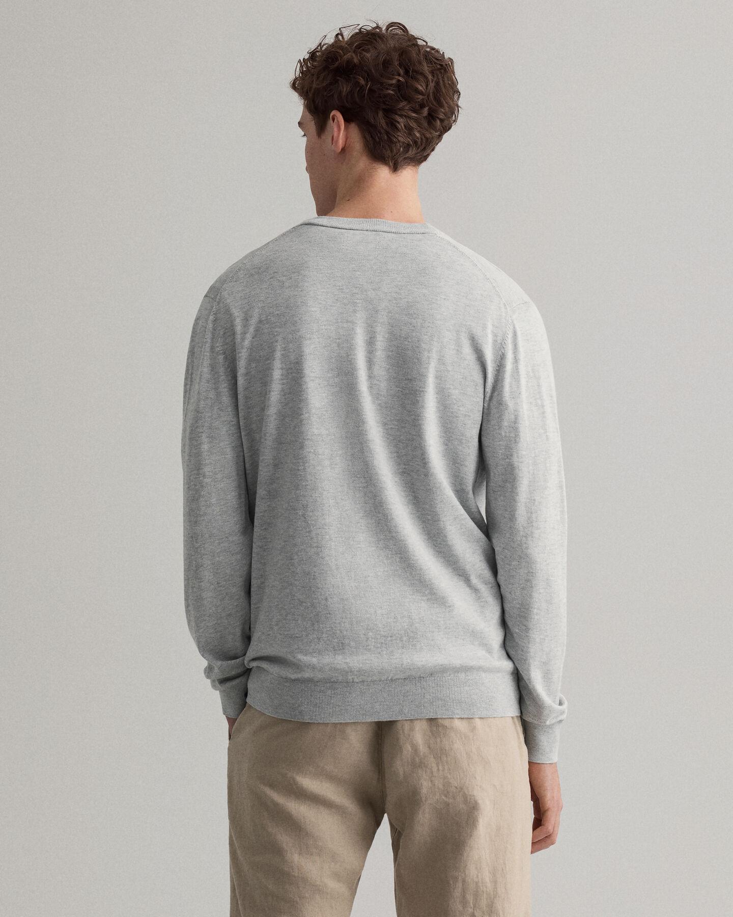 Baumwoll Seiden V-Neck Strickjacke