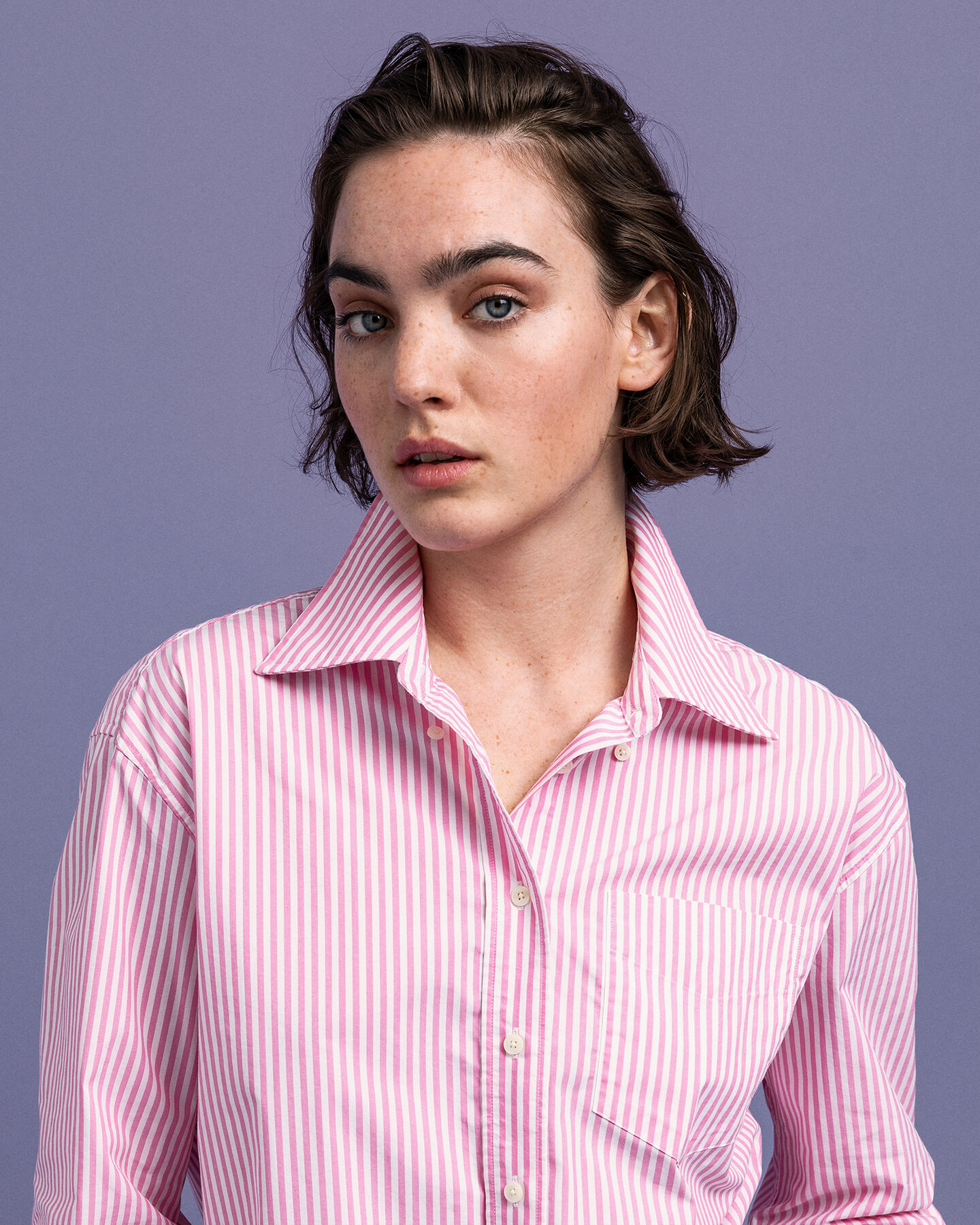 Tech Prep™ Relaxed Broadcloth Bluse mit Streifen