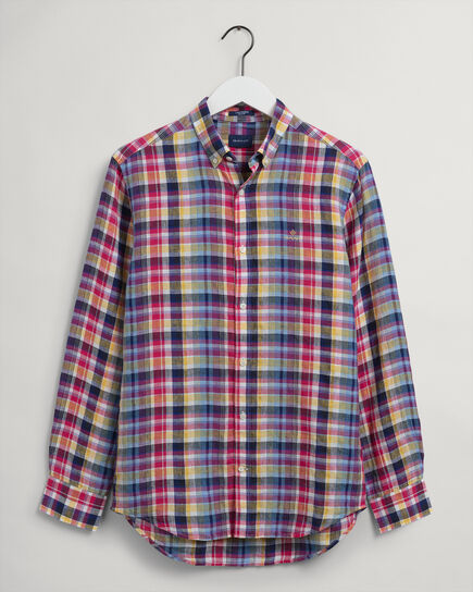 Regular Fit Leinen Hemd im Madras-Karo