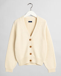 Gerippte V-Neck Strickjacke
