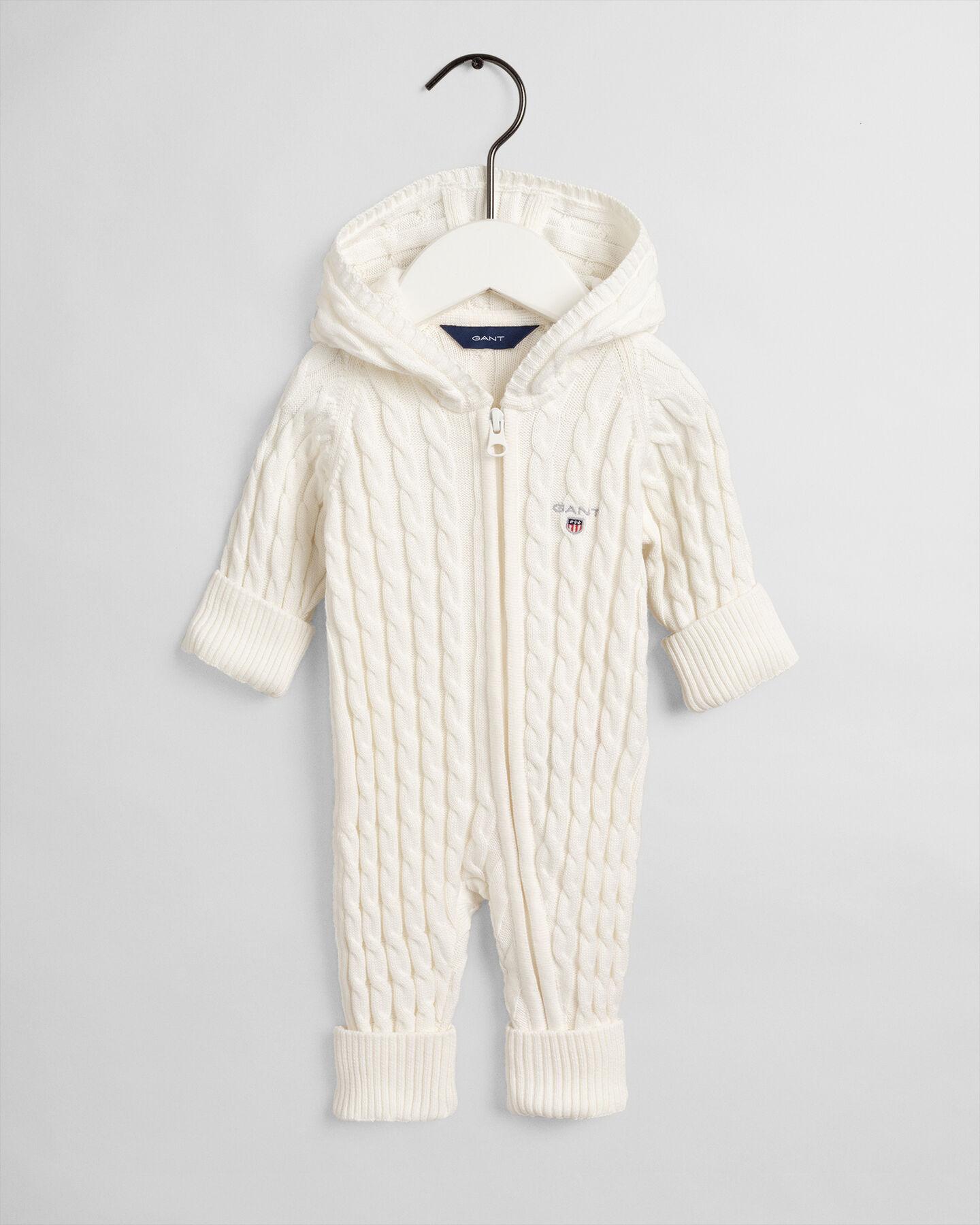 Baby Baumwollstrampler mit Zopfmuster und Reißverschluss