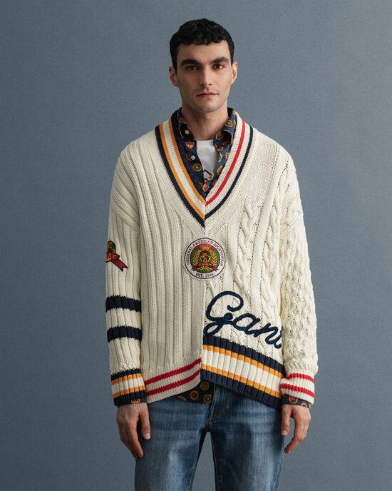 Patchwork Cricket V-Neck Pullover