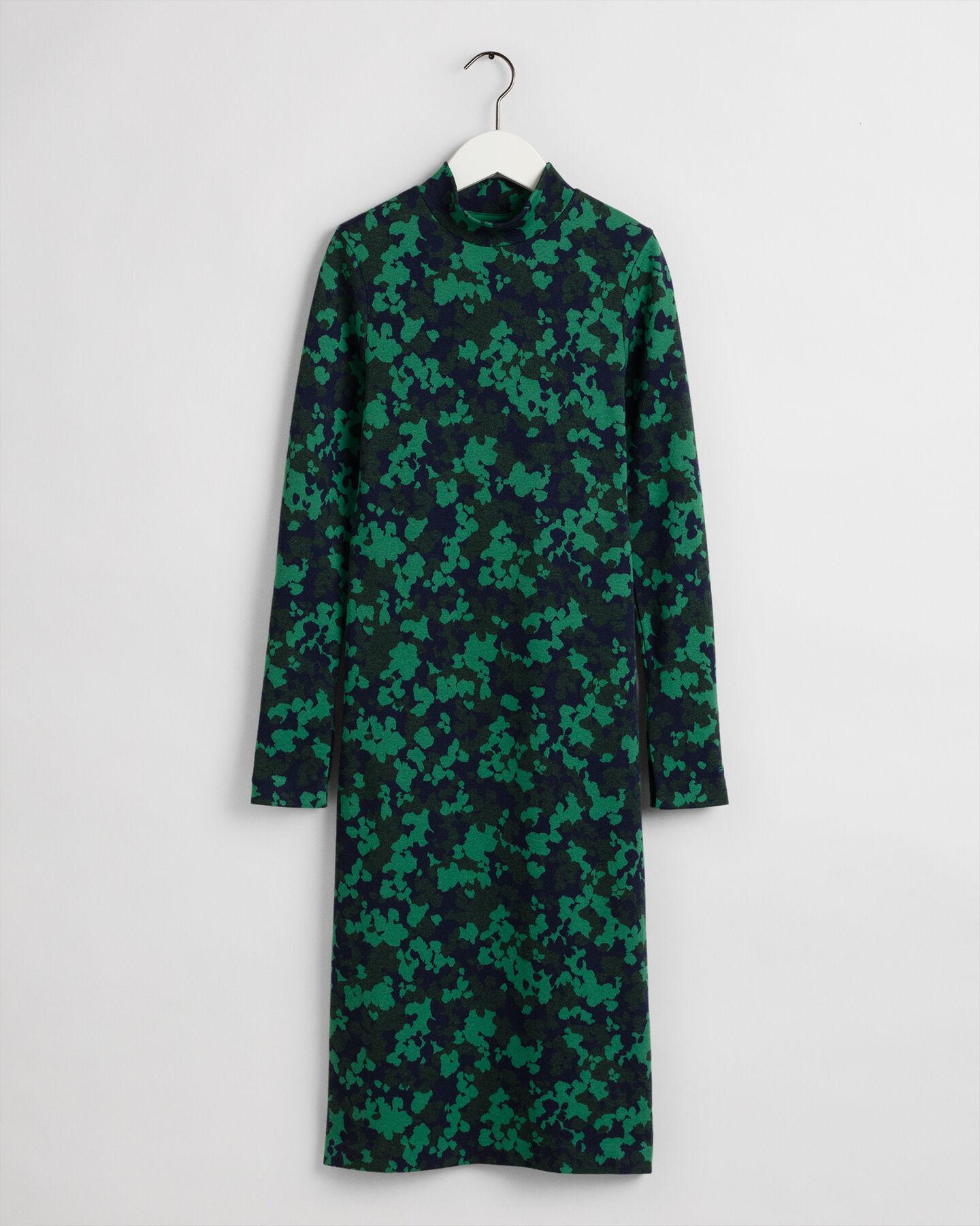 Jacquard Jerseykleid mit Blumenmuster