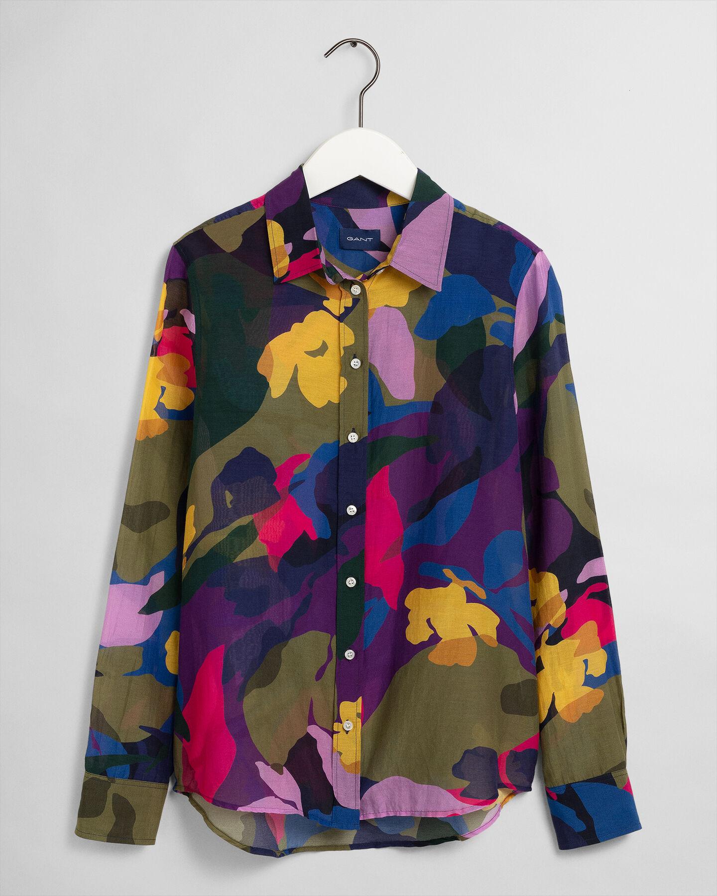 Baumwoll Seiden Bluse mit Blumenprint