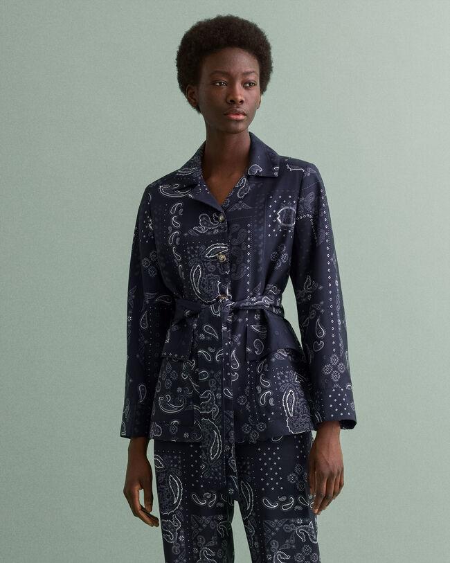 Bandana Blazer-Jacke mit Gürtel und Print