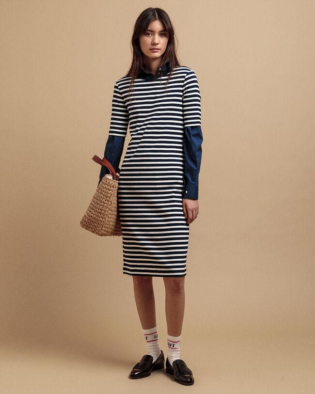 Geripptes Jersey Kleid mit Streifen