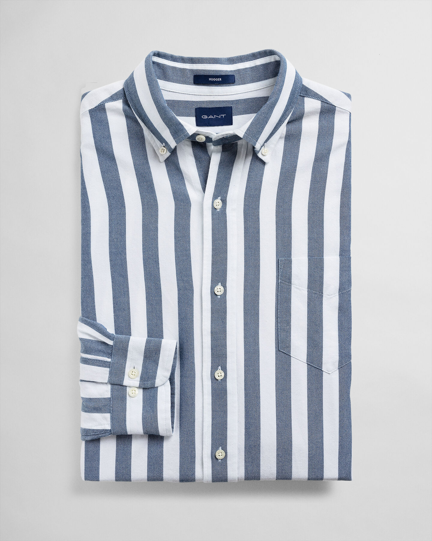 Indigoblaues Hugger-Fit Oxford-Hemd mit Streifen