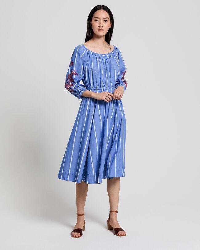 Besticktes Kleid mit Streifen