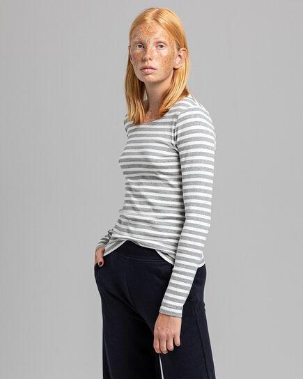 Geripptes Langarm-T-Shirt mit Streifen