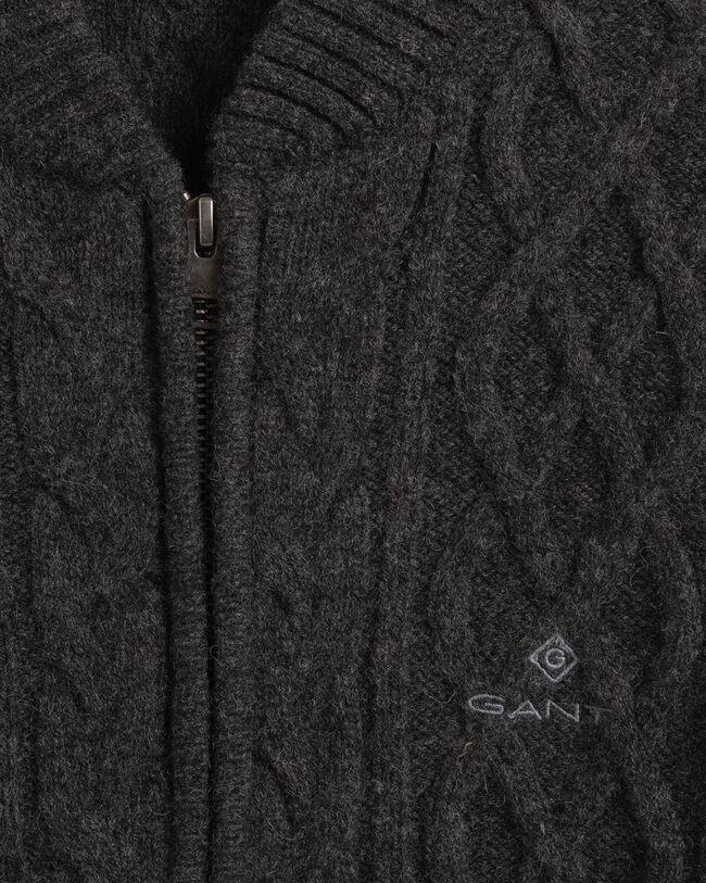 Aran Reißverschluss-Strickjacke mit Zopfmuster