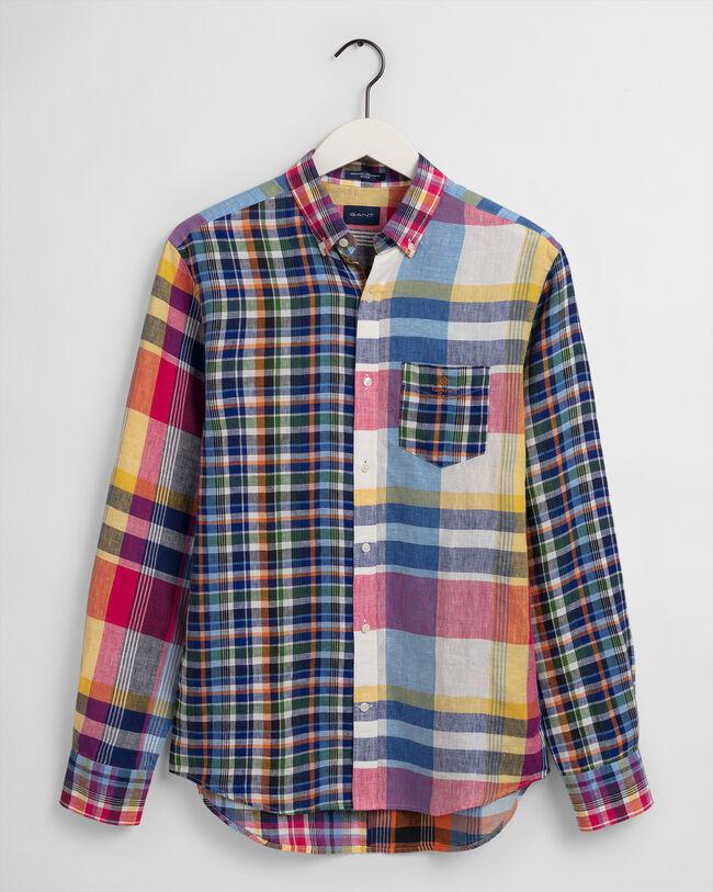 Regular Fit Leinen Hemd mit Madras-Mix