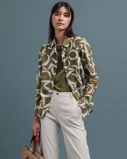 Crescent Floral Baumwoll Seiden Bluse