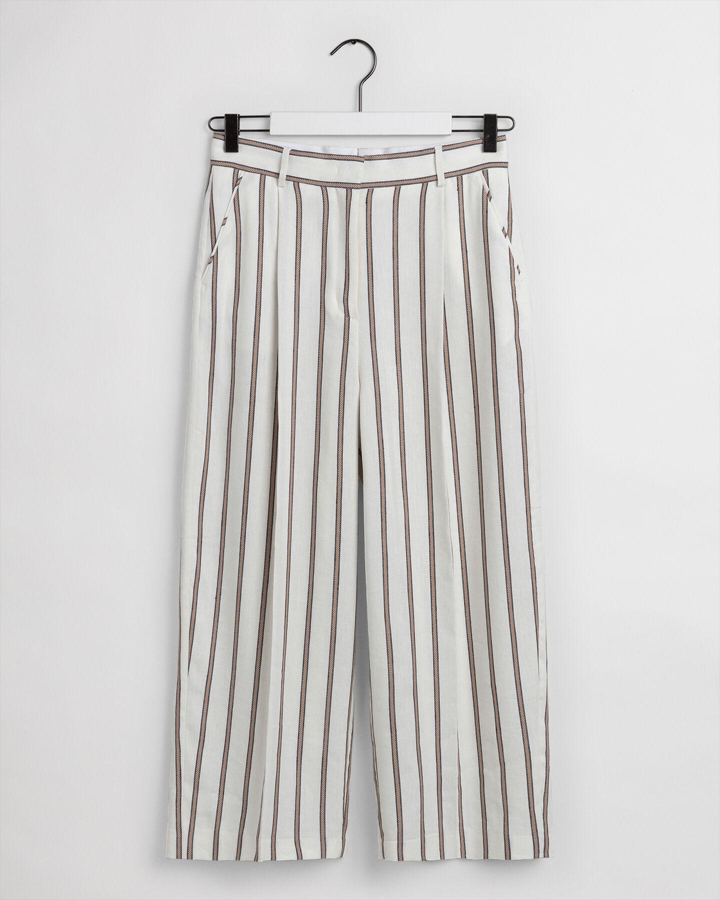 Gestreifte Cropped Leinen Hose mit weitem Bein
