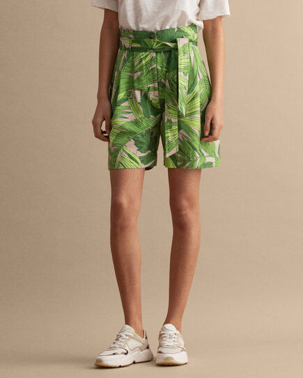 Palm Breeze High Waisted Shorts mit Bundfalten und Print