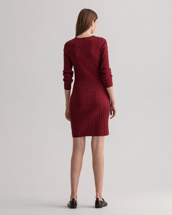 Kleid aus Stretch-Baumwolle mit Zopfmuster