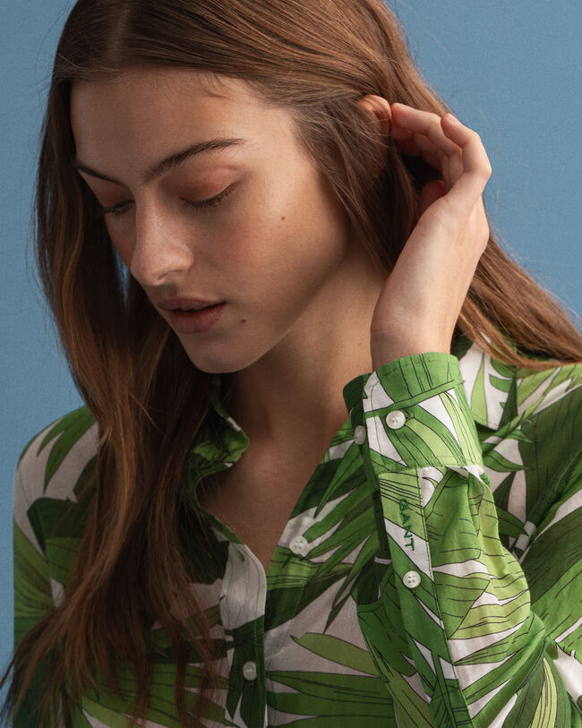 Palm Breeze Bluse aus bedruckter Baumwolle mit Seidenanteil